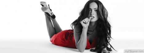 Megan Fox in red dress Facebook Cover