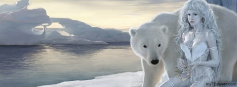 Polar Bear With Lady Facebook Cover