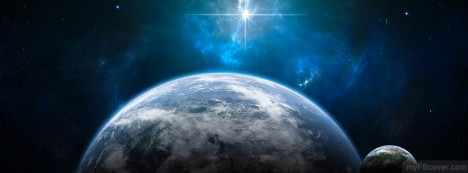 Earth And Galaxy Facebook Cover